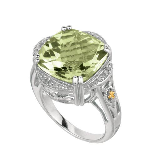 50e61344f952 Кольцо с хризолитом и бриллиантами DM-07, золото 585 пробы, 7.6 гр ...
